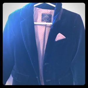 Boys navy velvet blazer